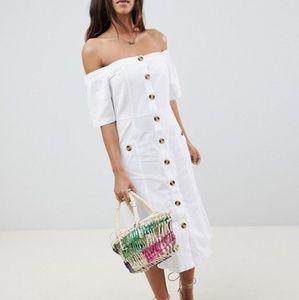 NWT ASOS Button Through Off Shoulder Midi Dress